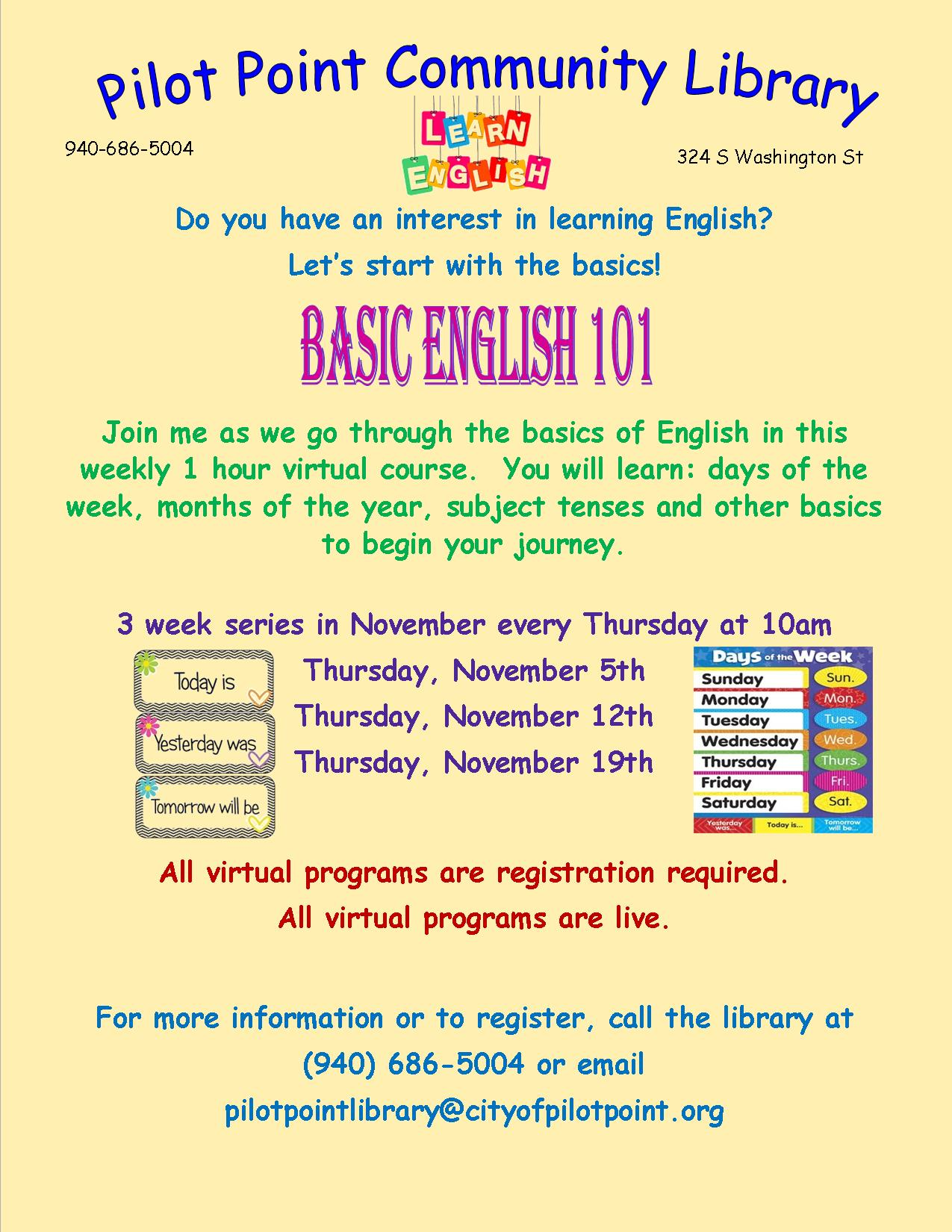 English Basic English Class flier